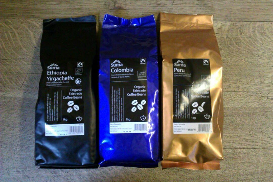 Some packets of coffee beans from Suma